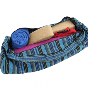 Yoga Mat Bag Cotton Blue Striped