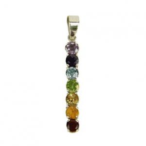 Chakra Pendant 7 Semi-precious stones Silver