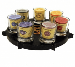 Atmospheric light Set Pentagram with Chakra Candles and Glasses