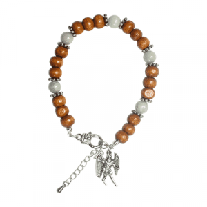 Bracelet with Angels and Archangel Michael - Aquamarine and Wood