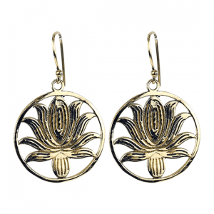 Earrings Lotus Brass Gold colored