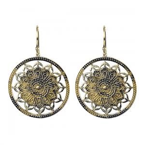 Earrings Lotus Mandala Brass Gold Coloured