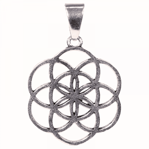 Pendant Flower of Life Brass Silver colored