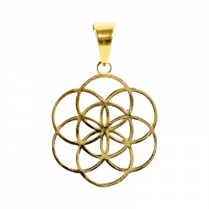 Pendant Flower of Life Brass Gold colored