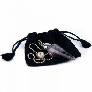Pendulum Amethyst Facet with Ornamental Bead