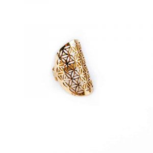 Ring Flower of Life Brass Gold colored