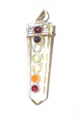Chakra Pendant Mountain Crystal with 7 semi-precious stones (Light colored)
