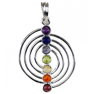 Spiral Pendant 7 Chakra Semiprecious stones Silver plated