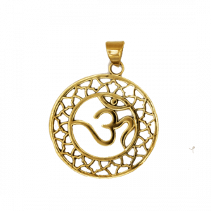 OHM Pendant Brass Gold coloured (3.5 cm)