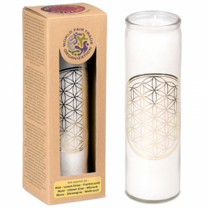 Odour candle Stearin Flower of Life white