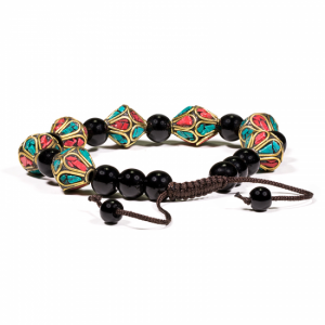 Bracelet Turquoise, Coral and Black Onyx - Model 1