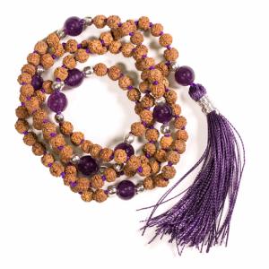 Mala Rudraksha and Amethyst with Purple Brush with Bag