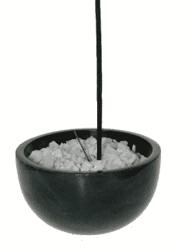 Incense Little Black Soapstone with White Stones