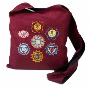 Shoulder bag Red brown with embroidered Chakras