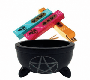 Incense Burner Black Soapstone Pentagram with Stones