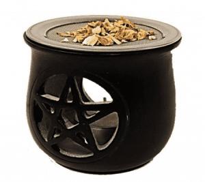 Incense burner Pentagram soapstone Black with sieve
