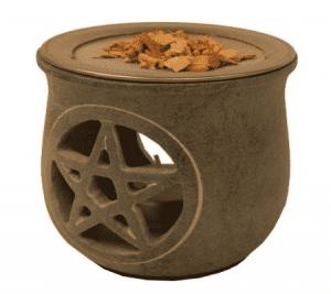 Incense burner Pentagram Grey with sieve