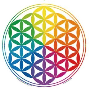 Window sticker Flower of Life Rainbow