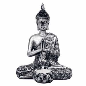 Buddha with Candle holder Silver colored - 20.5 cm