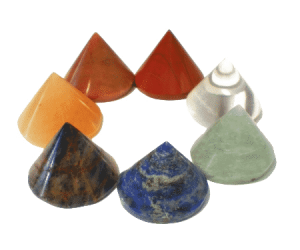 Set of 7 Conical Stones in the Chakra colours