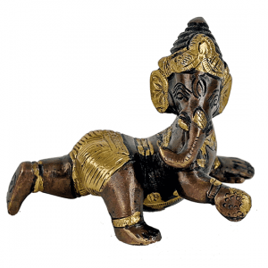 Baby Ganesha Brass Two-colour - 10 cm