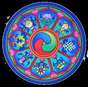 Tibetan Auspicious Symbols window sticker