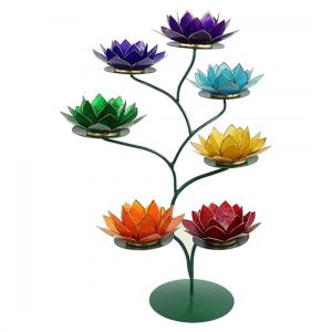 Chakra Lotus Display - 21 Lotus Atmospheric lights - Gold-coloured edges