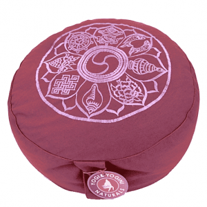 Meditation cushion Light Aubergine 8 Symbols Embroidered