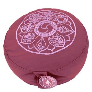 Meditation cushion Light Aubergine 8 Symbols Embroidered
