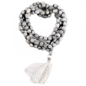Mala Lotus Seed 108 Beads with White Brush and Bag