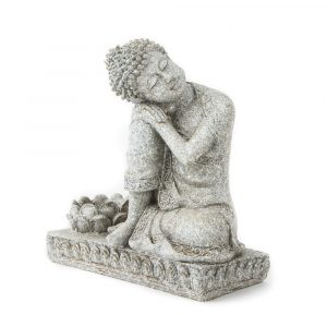 Buddha with Candle holder Stone grey - 17.5 cm