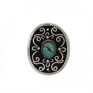 Button oval Decorated Silver-Turquoise