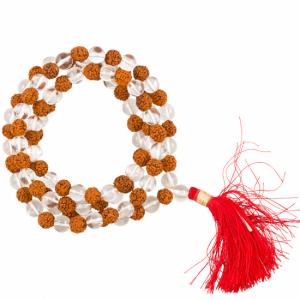 Mala Mountain Crystal Rudraksha AA 108 Beads with Bag