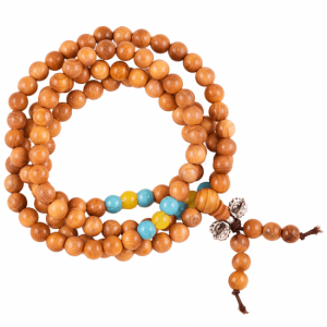Mala Wood with Beads and Silver Colour Village (Orange)
