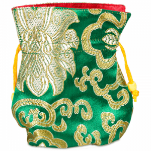 Brocade bag Green Lined with Yellow