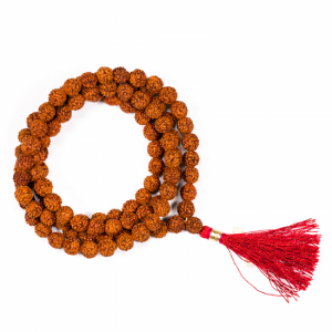 Mala Rudraksha 108 Beads With Red Brush (0.8 cm)