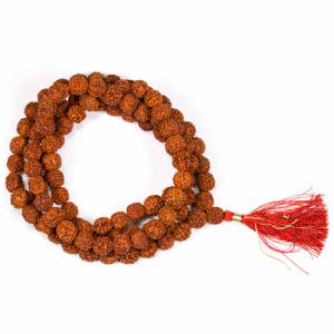 Mala Rudraksha 108 Beads With Red Brush (1.1 cm)
