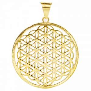 Flower of Life Pendant Brass Gold colored (4 cm)
