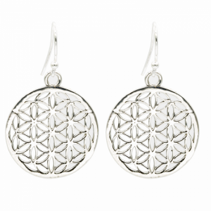 Flower of Life Earrings Brass Silver colored