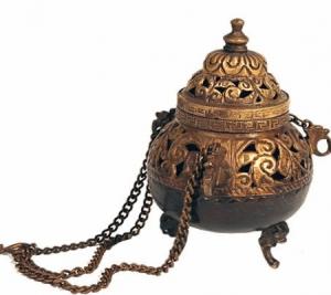 Hanging Incense burner Brass Antique Finish (14 cm)