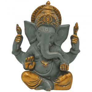 Ganesha Great Ears Grey with Golden Finish - 14 cm
