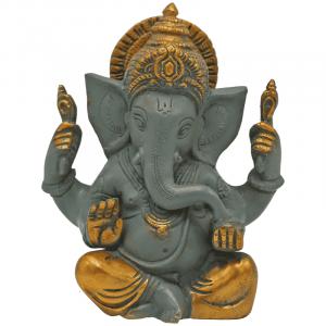 Ganesha Great Ears Grey with Golden Finish - 14 cm