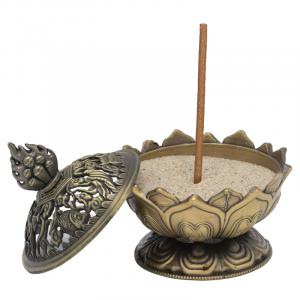 Incense Burner Lotus Bronze-coloured