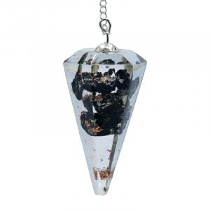 Orgon Black Tourmaline Pendulum Facet Sharpened Spot Point