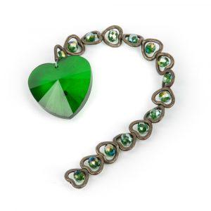 15 Hearts Feng Shui Crystal Window decoration Green
