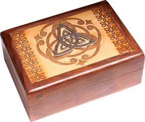 Jewellery box - Laser Engraved -  With Metal - Triquetra