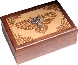 Jewellery box - Laser Engraved -  With Metal -Owl