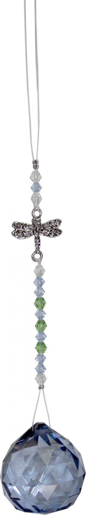 Suspended Crystal Cut Glass with Beads  Libelle - Light blue