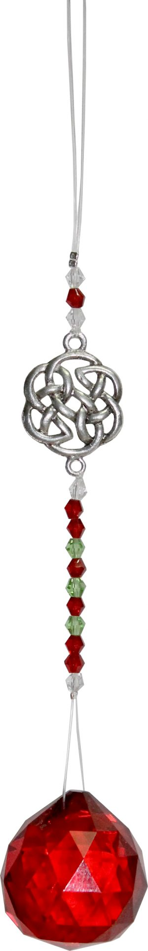 Suspended Crystal Cut Glass with Beads  Celtic Button - Red