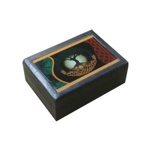 Wooden Jewellery Box - Tree of Life - Black